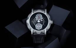 Graff Diamonds gentlemans' double tourbillon watch with graphic black block background