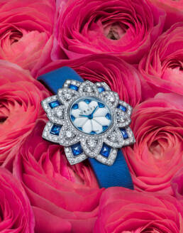 Graff diamonds ladies' floral watch in bunch of pink roses