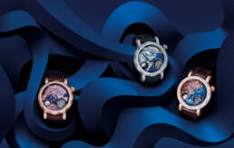 Graff diamonds gentlemens' gyrograph watches on graphic blue paper set