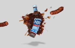 The Original HP brown Sauce with sausages