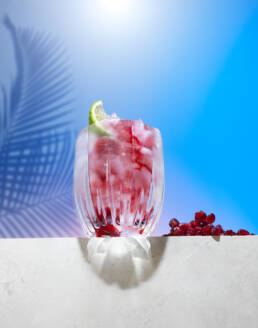 Pomegranate cooler cocktail on concrete ledge with palm tree shadow