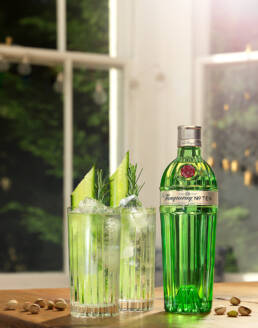 Tanqueray No Ten cucumber and Rosemary gin and tonics served in luxury interior